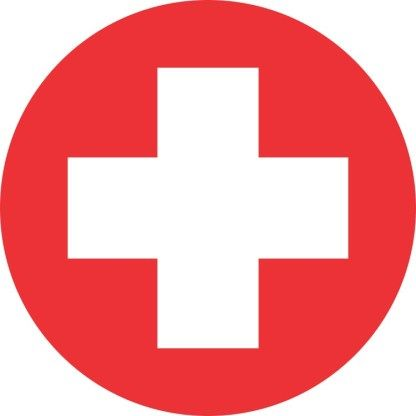 5in X 5in Round Cross Medical Symbol Sticker Medical Symbols Health Symbol Medical