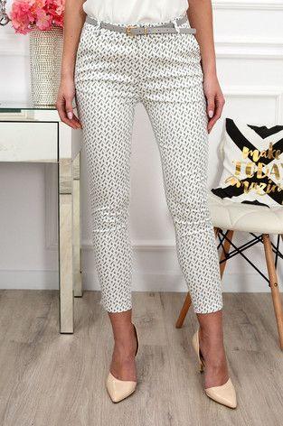 Spodnie Freesia W Romby Kremowo Szare Fashion Capri Pants Pants