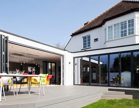 Modern flat roof extension open plan living timber terrace - cout agrandissement maison 20m2