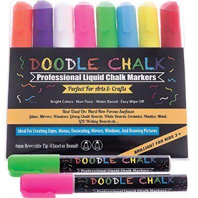8 Colors Fluorescent Dry Erase LED Menu Board Marker Pens Chalk Glass Sign