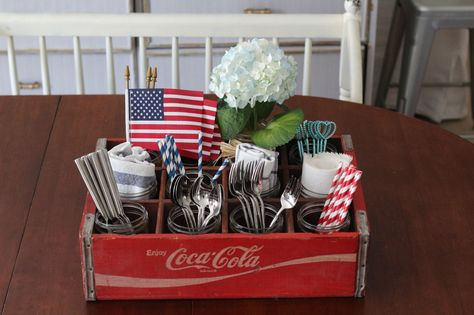 Vintage Coca Cola Crate - Love Your Abode Fourth Of July Decor, 4th Of July Celebration, 4th Of July Decorations, 4th Of July Party, July 4th, Wall Decorations, Old Coke Crates, Coke Crate Ideas, Wine Crates