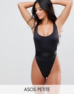 ASOS PETITE High Leg Elastic Waist Swimsuit | Petite