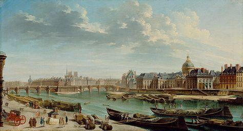 An article on PROSTITUTION IN 18TH CENTURY PARIS. A View of Paris With the Île de la Cité, 1763.