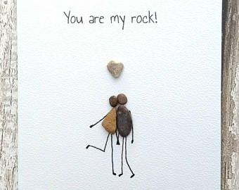 Birthday Card Husband Card Anniversary Card Pebble Card Pebble Art Quirky Card Unusual Card Personalised You Are My Rock Husband Card Pebble Art Family