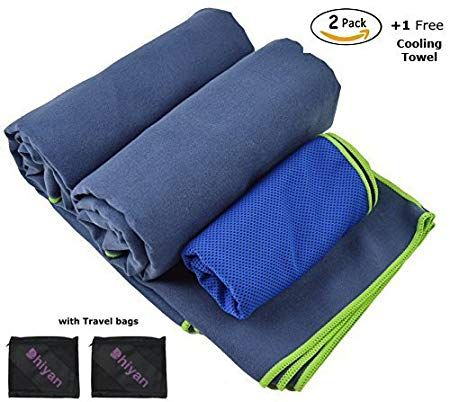 Microfiber Towel Set Of 3 Camping Towel Sports Towel 2 Big Towels Size 60 X 30 Plus 1 Cooling Towel Best For C