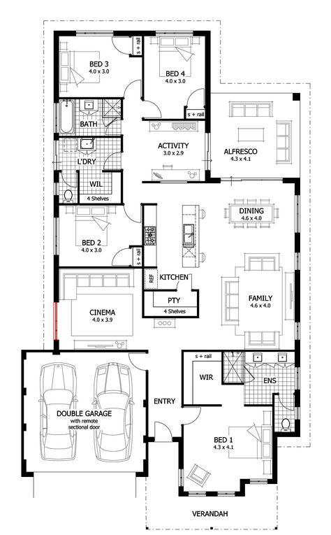 House Plans 4 Bedroom Narrow Lot Garage 55 Super Ideas Single Story House Floor Plans House Plans With Pictures Ranch House Plans