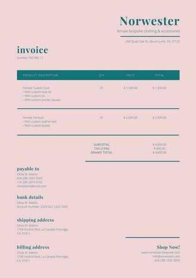 Pale Pink Dark Teal Invoice Invoice Design Template Invoice Design Invoice Template