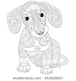 Coloring Page Of Dachshund Puppy Dog Symbol Of 2018 Chinese New Year Freehand Sketch Drawing For Adu Dog Coloring Page Dachshund Colors Animal Coloring Pages