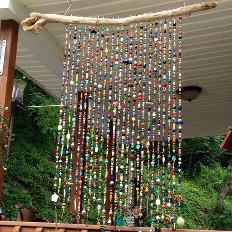 Handmade Glass Bead Sun Chimes Sunchimes Windchimes Massive Privacy Porch Safari Indoor Outdoor Natu