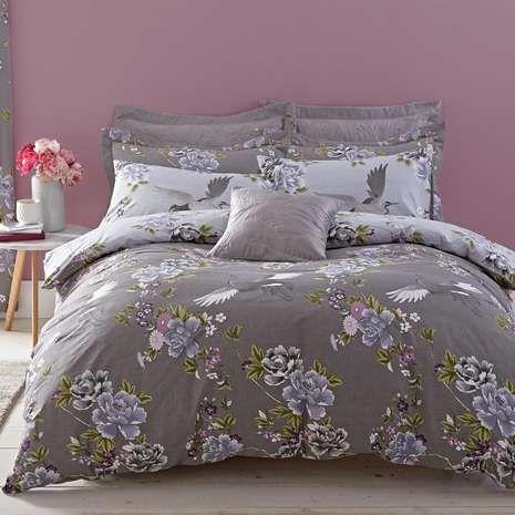 Crane Grey Reversible Duvet Cover And Pillowcase Set Dunelm Duvet Covers Gray Duvet Cover Reversible Duvet Covers