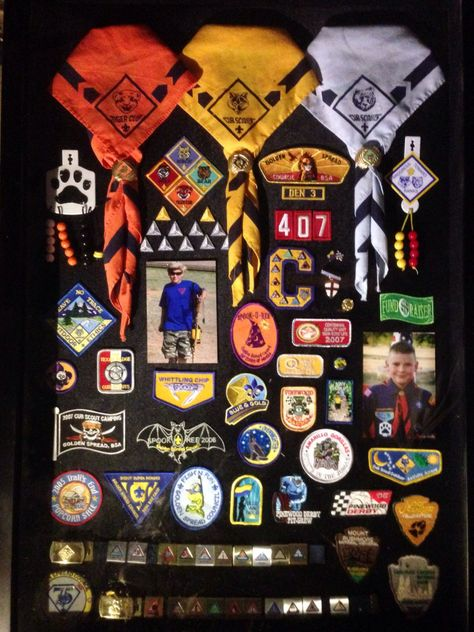 Shadow box from my sons Cub Scout years! #cubscouts Shadow box from my sons Cub Scout years!