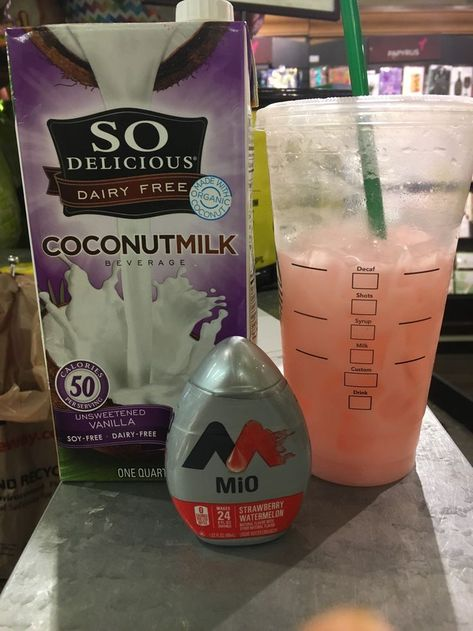 DIY starbucks Pink drink... cup of ice, 3/4 water, mio to taste (I do 2 squirts), splash of coconut milk. Stir. Add frozen or dehydrated strawberries. Low calorie, low carb, $7 for 12-15 drinks if not more