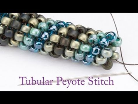 Video: Artbeads Mini Tutorial - Tubular Peyote with Leslie RogalskiSee Leslie Rogalski of Doodle Beads fame create a tubular peyote stitch in this Artbeads Mini Tutorial. Tubular peyote, also known as spiral peyote, allows y. Peyote Beading, Beaded Bracelets, Beadwork, Beaded Necklace, Seed Bead Bracelets Tutorials, Seed Bead Patterns, Beaded Jewelry Patterns, Peyote Stitch, Beading Tutorials
