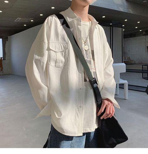 Pocket Designed Thin Oversize Black White Casual Shirt - Black / M