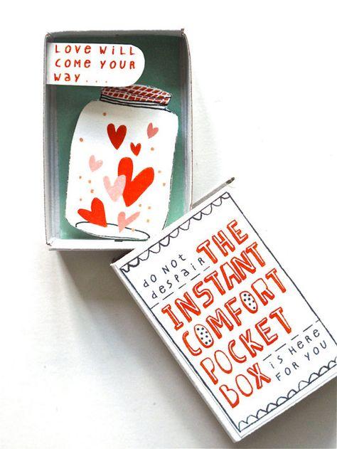 comfort box, design, illustration, match box, DIY, design, type, colour, love, valentines