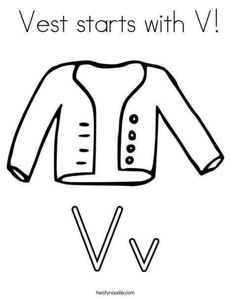 Vest Starts With V Coloring Page Twisty Noodle Coloring Pages