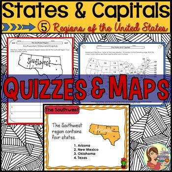 States and Capitals Quizzes & Maps (5 US Regions) | Third ...