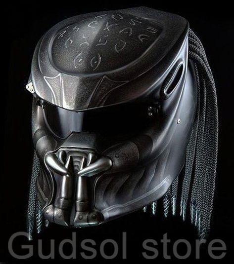 Predator helmet black sanskrit fangs half helmets dot