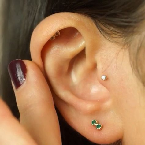 Single Diamond Cartilage Tragus Helix Lobe Piercing Stud Medium