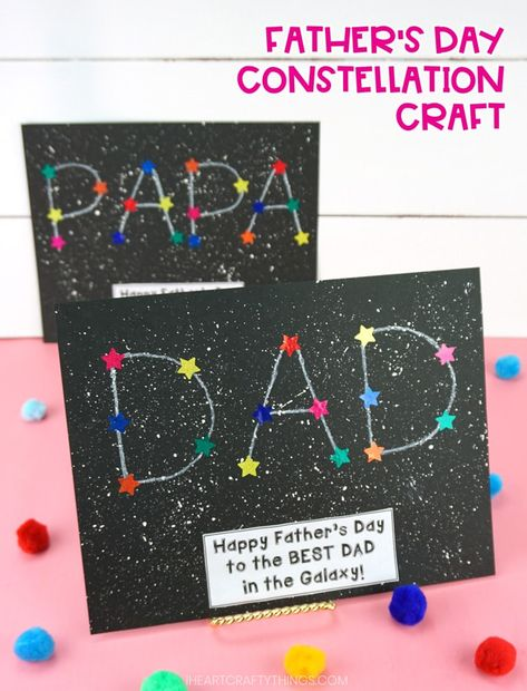 Kids will have a blast making this fun constellation craft for Father's Day. Easy Father's Day craft for preschoolers and kids of all ages to make for Dad and Grandpa. #iheartcraftythings