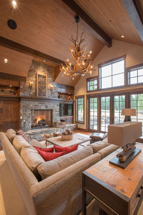 Below are the Lodge Living Room Decorating Ideas. This article about Lodge Living Room Decorating Ideas was posted under the … Modern Log Cabins, Modern Lodge, Modern Rustic, Mountain Home Interiors, Log Home Interiors, Bar Design, Design Case, House Design, Modern Cabin Interior