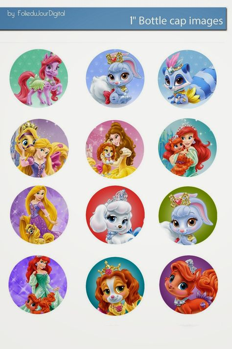 """Free Bottle Cap Images: Disney Palace pets and princess free digital bottle cap images 1"""" 1inch"""