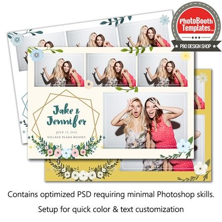 Modern Floral Postcard Photo Booth Template Photo Booth Photobooth Template Modern Floral