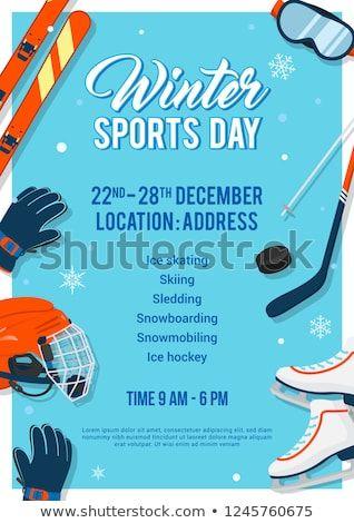 Winter Sports Day Poster Invitation Vector Illustration Winter