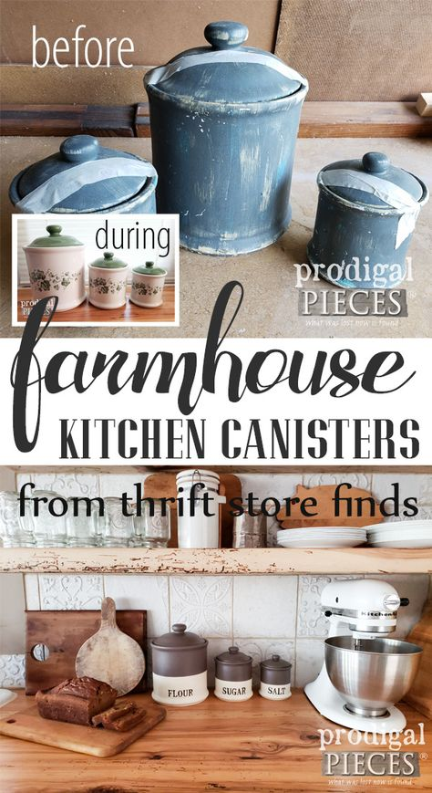 Farmhouse Kitchen Canisters DIY Style – Prodigal Pieces – Brilliant DIY Thrift Store Crafts You Should Totally Try Farmhouse Kitchen Canisters, Farmhouse Style Kitchen, Diy Kitchen, Farmhouse Decor, Country Decor, Kitchen Ideas, Vintage Farmhouse, Country Farmhouse, Kitchen Decor