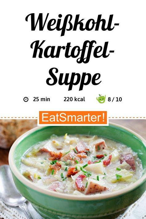 Regionale Küche: Weißkohl-Kartoffel-Suppe - kalorienarm - schnelles Rezept - einfaches Gericht - So gesund ist das Rezept: 8,7/10 | Eine Rezeptidee von EAT SMARTER | Kochen für Berufstätige, Was koche ich heute, Bürgerlich, Familienessen, Ferienküche, für 4 Personen, Hausmannskost, Ländlich, Lunchbox, Suppen-to-go, Gemüse, Kohlgemüse, Wurzelgemüse, Kartoffel, Kräuter, Milchprodukte, Suppen, Gemüsesuppe, Mittagessen, Abendessen, Hauptspeise #eintöpfe #gesunderezepte