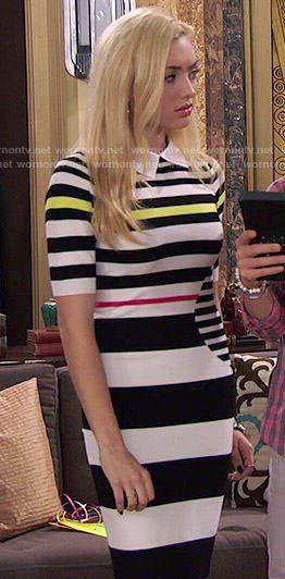 Emma's striped collared dress on Jessie Jessie Emma, Emma Ross, Band Outfits, Cute Outfits, Peyton List, Peyton Roi, Skai Jackson, Striped Knit, Karen Millen