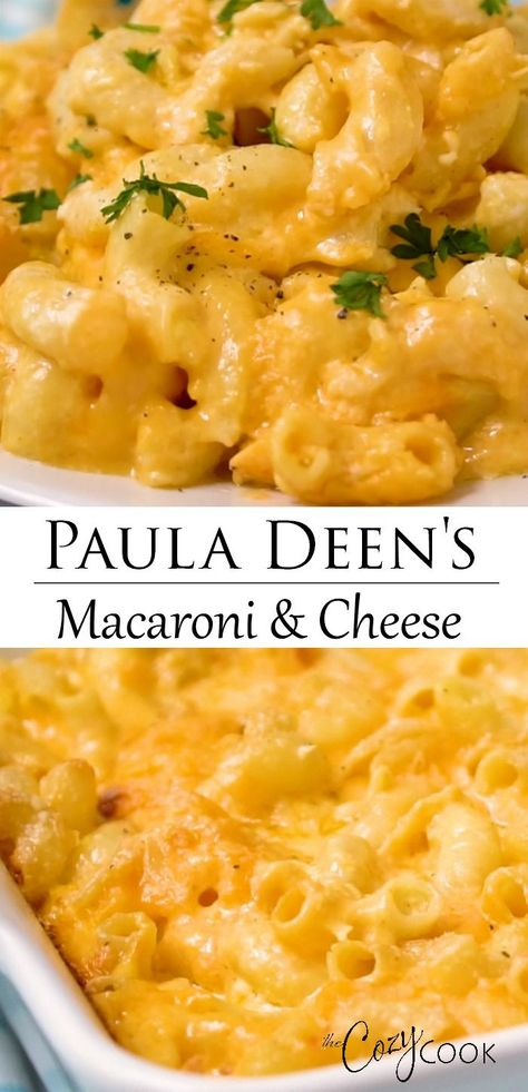 Paula Deen's Macaroni & Cheese can be baked in the oven, the Crock Pot, or on the stovetop! Made extra creamy with eggs, cream cheese, and 2 oher cheeses! #makeahead #casserole #velveeta #creamy #comfortfood #thanksgivingrecipe #sidedish