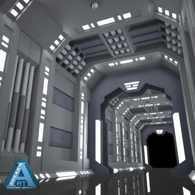 New City Airship Lab (sci-fi corridor by AhearnART)