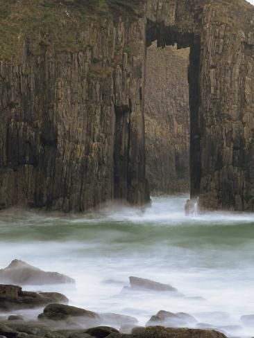 size: Photographic Print: Church Doors Rock Formation in Skrinkle Haven Cove, Lydstep, Pembrokeshire, Wales, UK by Pearl Bucknall : Artists Wales Uk, South Wales, Pembrokeshire Wales, Snowdonia, Dartmoor, Rock Formations, Great Britain, Wonders Of The World, Beautiful Places