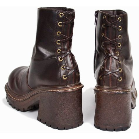 Designer Clothes, Shoes & Bags for Women Chunky Boots, Brown Boots, Laced Boots, Sock Shoes, Cute Shoes, Edgy Outfits, Platform Boots, Aesthetic Clothes, Vegan Leather