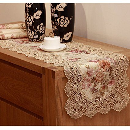 Homand O Beige Floral Thick Long Lace Table Runner Jacquard Printed Fabric For Wedding Spring Decorati Lace Table Runners Stylish Tables Embroidered Tablecloth