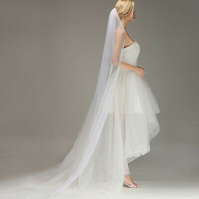2M Long Prom Gown Simple Wedding Bridal Veil Cathedral With Comb High Quality
