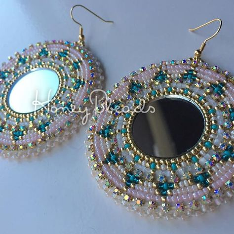Mirror Big Earrings earrings made of mirrors weaved around with japanese seed beads