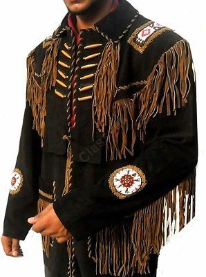 Bone Beads Coat SleekHides Mens Western Indian Suede Leather Fringes