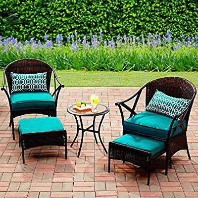 Amazon Com 5pc Patio Set Conversation 2 Seats Chairs 2 Footrests