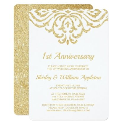Gold Vintage Glam Elegant 1st Wedding Anniversary Invitation