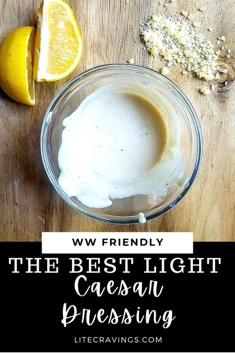 Who needs to buy bottled dressings when you can make Light Caesar Dressing at home in just about 5 minutes? Easy and delicious! #caesardressing #homemadedressing