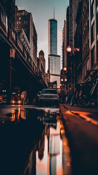 Download Iphone Xs Iphone Xs Max Iphone Xr Hd Wallpapers Street City Reflection Puddle Cars Buildings Bi Iphone Wallpaper City Aesthetic City Wallpaper