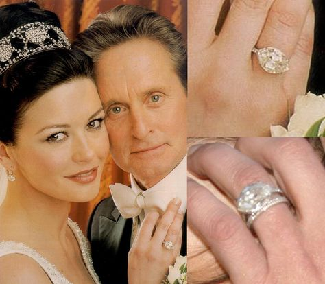 Michael Douglas gave Catherine Zeta-Jones a 1920s10 carat marquise cut diamond engagement ring. The marquise cut diamond isset in an east-west orientation and is surrounded by 28 smaller stones.