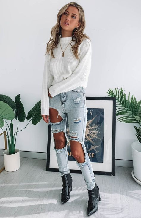 2020 Damen Jeans New Look Jeans Braune Jeans Burgunder Jeans - Rosewew, Winter Mode Outfits, Trendy Fall Outfits, Cute Comfy Outfits, Cute Winter Outfits, Cute Jean Outfits, Dressy Casual Outfits, Cute Outfits For Teens, Casual Outfits For School, First Day Of School Outfit