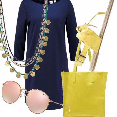 Un abito a tubino blu, molto informale e casual a maniche lunghe. Lo abbiniamo a una shopper gialla per essere comoda di giorno e a degli infradito in sincronia cromatica. Rayban agli occhi e collana sbarazzina ricca di perline e medagline dorate.
