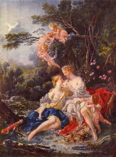 Zeus disguised himself as Artemis and slept with her virgin nymph Callisto and impregnated her. Artemis, in her anger, turned the nymph into a bear and planned to kill it. Zeus changed the bear into a constellation instead known as Callisto the Bear. Art Lesbien, Rococo Painting, Drive In, Renaissance Kunst, Greek And Roman Mythology, Lesbian Art, Old Paintings, Romantic Paintings, Classical Art