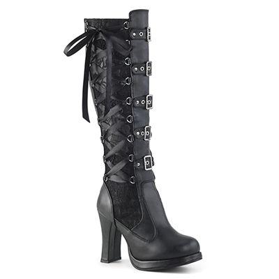Demonia CRYPTO 106 Black Corseted Gothic Knee Boots