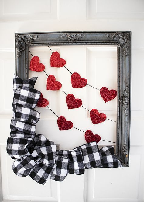 The Sweetest Valentine's Day Wreath / Door Hanger made using an old frame and ribbon. Simple Valentines Day Craft - Clumsy Crafter Source by jpaigesparty Frames Valentine Day Wreaths, Valentines Day Decorations, Valentine Day Crafts, Holiday Crafts, Printable Valentine, Homemade Valentines, Valentine Box, Valentine Ideas, Valentines Frames
