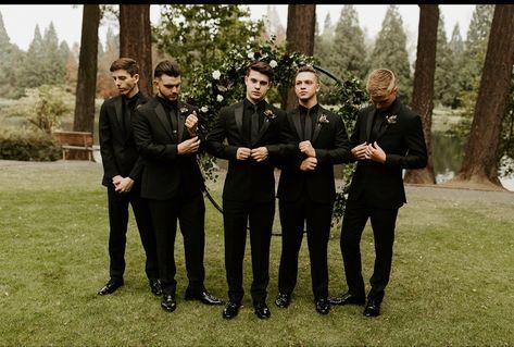#groom #groomsmen #allblacktux #tuxedo #wedding #weddingideas #weddinginspiration #forestwedding #pnw #portlandoregon